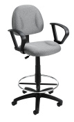 Boss Office Products B1617-GY Ergonomic Works Drafting Chair with Loop Arms in Grey