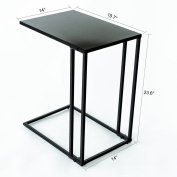 C-Hopetree Sofa Side Table Metal Snack Laptop End Table for Living Room, Black