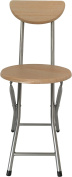 Wee's Beyond 1212-BC Folding Wooden Stool with Back, Beech