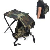 2 IN 1 Ultralight Portable Camping Backpack With Small Folding Stool - Ehonestbuy Aluminium Travel Folding Canvas Fishing Stool and Bag For Fishing & Camping & Hiking