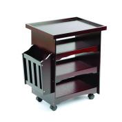 60cm 4 Tier Wood Multi-Purpose Rolling Utility Cart