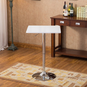 Roundhill Furniture Baxton White Square Top Adjustable Height Wood & Chrome Metal bar Table