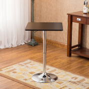 Roundhill Furniture Baxton Black Square Top Adjustable Height Wood & Chrome Metal bar Table