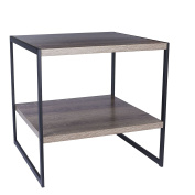 Household Essentials Grey Top Black Frame Ashwood Square Side End Table with Shelf
