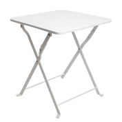 Finnhomy Small Square Folding Side End Table Sofa Table Tray Side Table Snack Table Metal Anti-Rusty Outdoor and Indoor Use for Little Stuff Multi-use, White