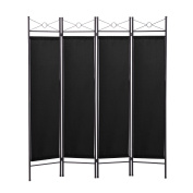 JAXPETY 4 Panel Room Divider Privacy Screen Home Office Fabric Metal Frame