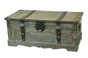 Rustic Grey Large Wooden Storage Trunk