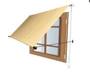 Shatex 1.8m x 1.5m Wheat Outdoor Roller Sun Shade Drop Arm Manual Retractable Deck/Door/Window Awning,Never Fade