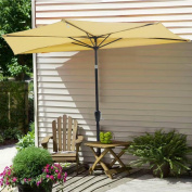Yescom 3m Beige Outdoor Patio Half Umbrella Cafe Wall Balcony Door 5 Ribs Tilt Aluminium Sun Shade