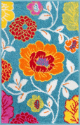 Modern Rug Daisy Flowers Blue 0.9m x 1.5m Floral Accent Area Rug Entry Way Bright Kids Room Kitchen Bedroom Carpet Bathroom Soft Durable Area Rug