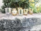 Just Artefacts Silver and Gold 8pcs Assorted (Pattern, Size) Mercury Glass Votive Tealight Candle Holder Set - Mercury Glass Votive Tealight Candle Holders for Weddings, Parties, and Home Décor
