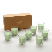 Hosley Premium, Highly Scented Set of 8, Fresh Bamboo, Essential Oils, Votive Candles in Clear Glass. Burns upto 12 hours each. Great Gift for Home, Patio, Gardens