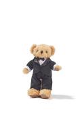 Groom Teddy Bear in Tuxedo Wedding Stuffed Animal on Doll Stand Soft Plush Toy 30cm