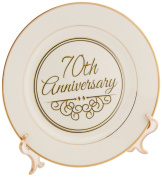 3dRose cp_154512_1 70th Anniversary Gift-Gold Text for Celebrating Wedding Anniversaries-70 Years Married Together-Porcelain Plate, 20cm