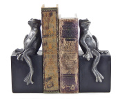 Bookends - Fanciful Frog Book Ends - Thinker Frog Bookend - Antique Finish