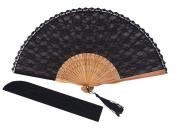 Amajiji Chinese /Japanese Vintage Retro Style Bamboo Wood Silk Folding Hand Fan for women HBSY (23cm)