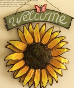 12x15 Vintage Hanging Butterfly Sunflower Welcome Sign Sunflower Decor for Door Hanging Home Decor