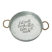 Brownlow Gifts Galvanised Metal Round Serving Tray, Eat Well Laugh Often Love Much