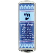 Car Mezuzah - Blue With the Traveller's Prayer, Nickel, 5 CM