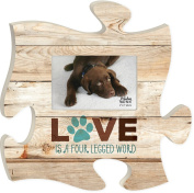 Love is a Four Legged Word 12 x 12 Wood Wall Art Puzzle Piece 4x6 Frame Plaque