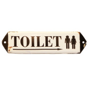NIKKY HOME Vintage Rustic Toilet Door Sign Wall Plague Sign 30cm by 7.9cm