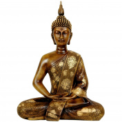 Tibet Buddha Statue Golden Brown 11 Thai Sitting by Bellaa