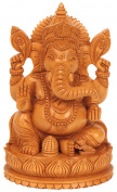 CraftVatika Wooden Ganesh Statue - Hand Carved Sitting on Mouse- Lord Ganesha Wood Sculpture Elephant Hindu Deity God Figurine