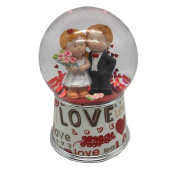 Lightahead 100 mm Polyresin Water Globe with Falling Glitter and Music Playing Water Ball Table Top Decoration/Valentine Day Gifts, Love Couple