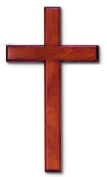 Wall Cross Made in Solid Mahogany Wood 18cm X 36cm in White Gift Box