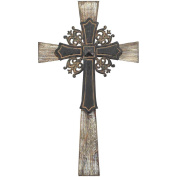 Antiqued Intricate Double Layer 38cm Wood and Metal Decorative Hanging Wall Cross