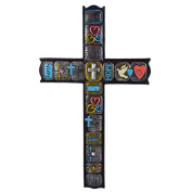 Pine Ridge Inspirational Modern Chic Decorative Wall Cross with Words Inscribed Love, Hope, Faith, and Family - Religious Light-weight Polyresin Made Wall Decor