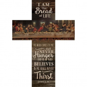 Bread Of Life Last Supper Scene Distressed 20 x 14 Wood Wall Art Plaque Cross