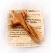 Olive Wood Thin Holding Hand Comfort Cross Holyland - Certificate & Explanation Card HJW