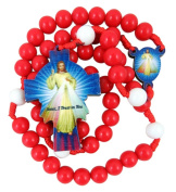 Red and White Acrylic Prayer Bead Rosary with Wooden Divine Mercy Cross, 46cm