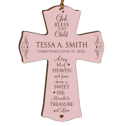Personalised Baptism 1st Holy Communion Christening Gifts Custom Wall Cross Decoration God Bless This Child a Tiny Bit of Heaven Sent From Above