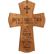 Personalised Baptism 1st Holy Communion Christening Gifts Custom Wall Cross May the grace of GOD shine upon you and may HIS LOVE be with you Always Pine wood cross by DaySpring Milestones