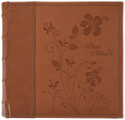 Golden State Art Photo Album, Holds 200 10cm x 15cm Pictures, 2 Per Pages, Faux Leather Vintage Inspired Cover, P52028-6 Brown