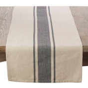 SARO LIFESTYLE 3011.N1672B Classic Banded Stripe Pattern Cotton Table Runner,Natural,41cm X 180cm