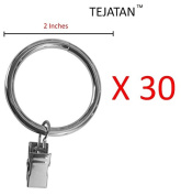 5.1cm Metal Curtain Rings with Clips and Eyelets - Silver (Set of 30)