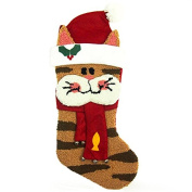 Glitzhome 60cm Handmade Hooked 3D Cat Christmas Stocking