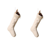 Pack 5.5cm Unique Ivory White Knit Christmas Stockings
