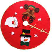 Hangnuo Christmas Tree Skirt Floor Base Cover Xmas Holiday Decoration With Santa Claus,Snowman,Elk Red
