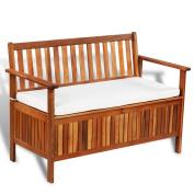 Anself Outdoor Patio Garden Storage Bench Deck Box with Cushion, Acacia Wood
