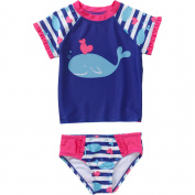 OP Baby Toddler Girl 2-piece Short Sleeve Swimwear Rashguard Set