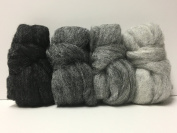 Stormy Night Carded Corriedale Roving, 4 Colours 120mls