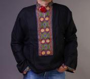 SALE Handmade Black VYSHYVANKA Mens LINEN SHIRT Embroidered XL