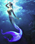 "FKUO 5D DIY Diamond Painting "" Mermaid "" Blue seabed Embroidery 2.8mm Round Diamond embroidery Fashion home decor"