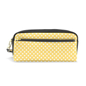 My Daily Polka Dots Pencil Case Yellow and White Pen Bag Pouch Coin Purse Cosmetic Makeup Bag