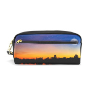 My Daily Stars and Moon Sunset Pencil Case Tree Silhouette Pen Bag Pouch Coin Purse Cosmetic Makeup Bag