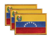 PACK of 3 Venezuela Flag Patches 8.9cm x 5.7cm , Venezuelan Embroidered Iron On or Sew On Flag Patch Emblem